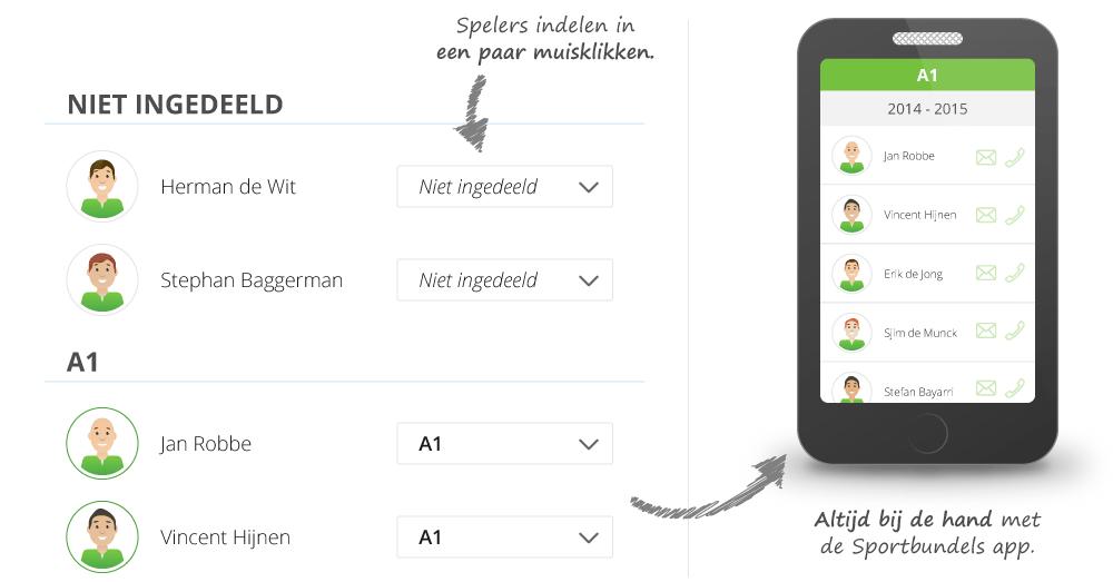 Zeer eenvoudig teams indelen welke direct inzichtelijk zijn in de app